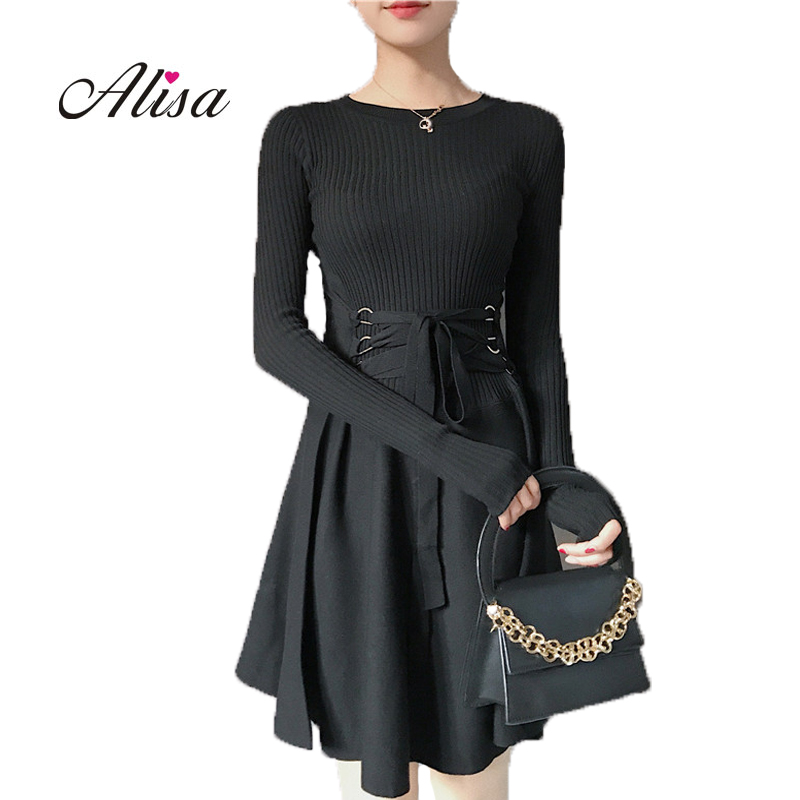 New 2017 Women patchwork Knitted Vintage Dress Winter Solid Long Sleeve Set Head O neck Silm