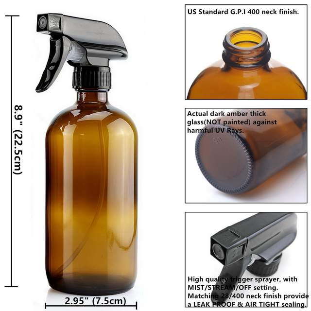 a530b5e42867 US $15.95 24% OFF|500ml Empty Amber Glass Spray Bottle with Black Trigger  Sprayer & Labels for Essential Oils Cleaning Aromatherapy 16 Oz 2 Pack-in  ...