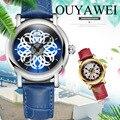OUYAWEI для женщин Мода часы Montre femme полые Скелет автоматические механические Женские часы толпа Весна Дизайн бренд класса люкс W