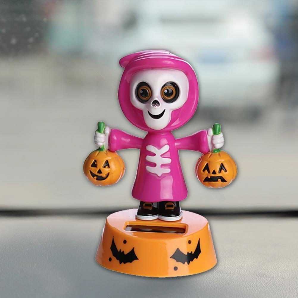 Adornos solares para coche, innovador juguete de Halloween, muñeco de dibujos animados oscilante, para decoración de coche de muñecas de calabaza, cabeza móvil bailando
