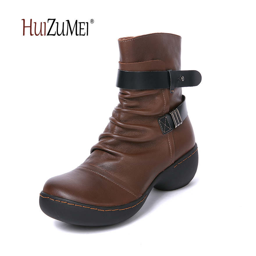 HUIZUMEI autumn and winter new retro shoes women boots  genuine leather boots female round toe autumn and winter new personality retro cowhide ankle boots handsome female waterproof platform genuine leather women shoes 9731