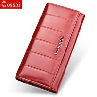 New Soft Oil Wax Genuine Leather Women Wallet Long Designer Ladies Clutch Luxury Brand Women Hasp Wallets Coin Purse Phone Bags