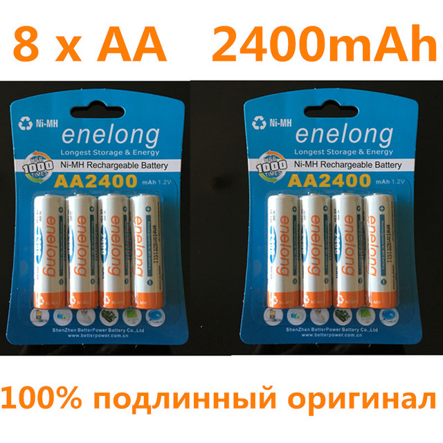 8pcs 100% genuine original enelong 2400mAh NiMH AA rechargeable batteries, high-quality toys, cameras, flashlights and battery