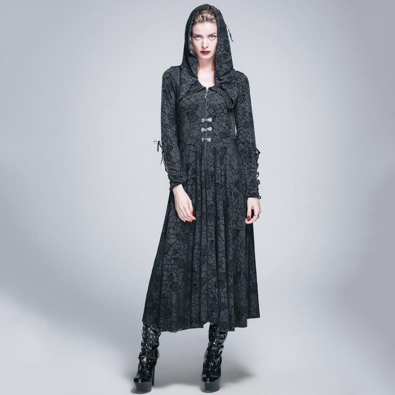 Дьявол мода готический Розы Флокирование платье для женщин стимпанк черный длинным рукавом с капюшоном платья