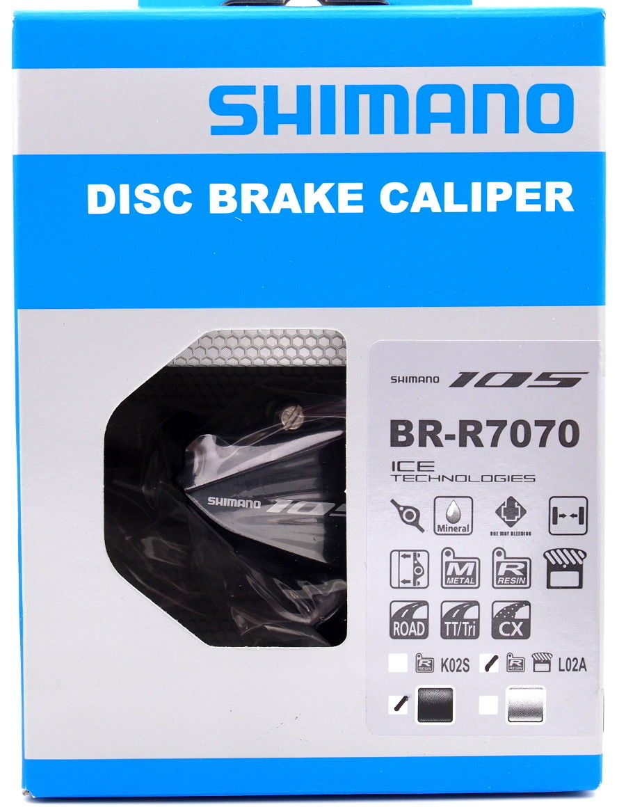 Shimano 105 BR-R7070-R Disc Brake Flat Mount Rear Caliper w// Fin Pad L02A Black