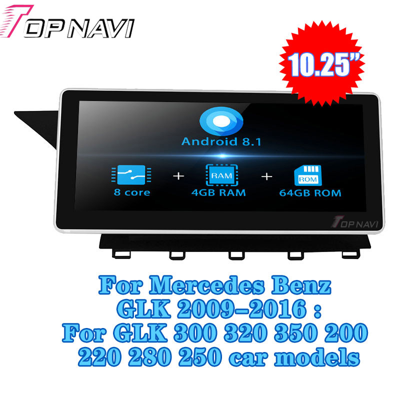 10.25''Android 8.1 Car Radio GPS Navigation For Mercedes Benz GLK 300 320 350 200 220 280 250 2009 2012 Multimedia player Stereo