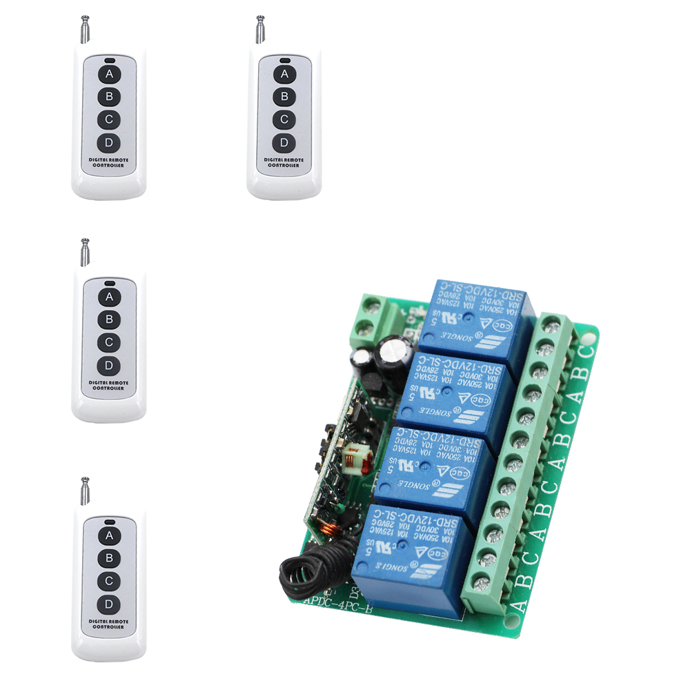 DC12V 4CH Remote Control Switch Automatic Door Operators Receiver 4 Transmitter Learning Code Momentary Toggle Latched 315/433 mini remote control switch system micro dc3v 5v 2a relay 2 receiver transmitter momentary toggle latched learn 315 433