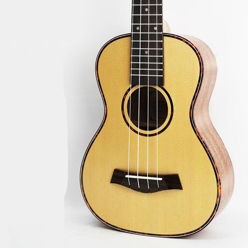 Guitare acoustique SevenAngel 23 pouces ukulélé épicéa acajou 4 cordes ukelele électrique avec micro EQ reliure celluloïd rouge