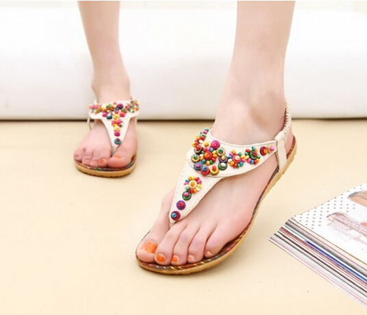 Summer Women Flat Sandals Ankle T-strap Fashion Trend Sandals Bohemia National Flat Heel Beaded Female shoes 2016 Hot sale