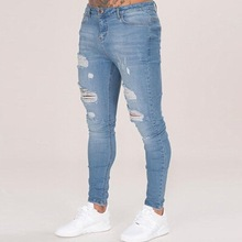 Cotton Jean Mens Pants Vintage Hole Cool Trousers for Guys 2019 Summer Europe America Style Plus Size 3XL ripped jeans men cheap Denim Lightweight Full Length Pencil Pants Stripe Acacia Person Slim Solid Casual Zipper Fly piece 11cm x 11cm x 11cm (4 33in x 4 33in x 4 33in)