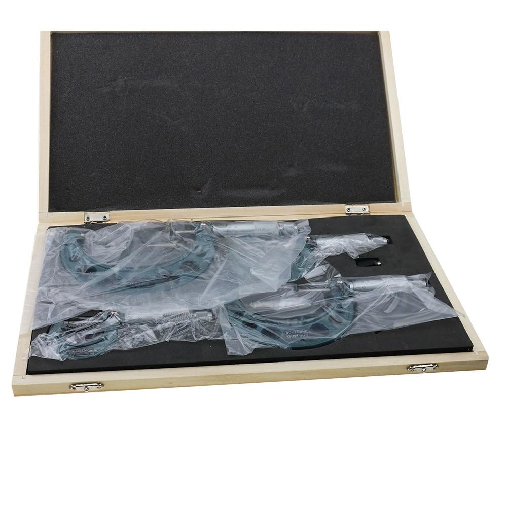 Tools : 0-25mm 50mm 75mm 100mm 0 01 Outside Micrometer Set Carbide Tipped Metric Gauge Screw Thread Caliper 4Pcs Measuring Tools