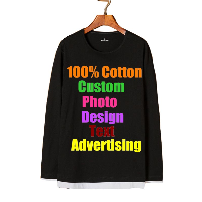 Custom Made Logo Photo Text Printed Men T shirt Fake Two Pieces Loose Oversized Punk Rock Teenager Male Boy Cool Tee Top T-shirt