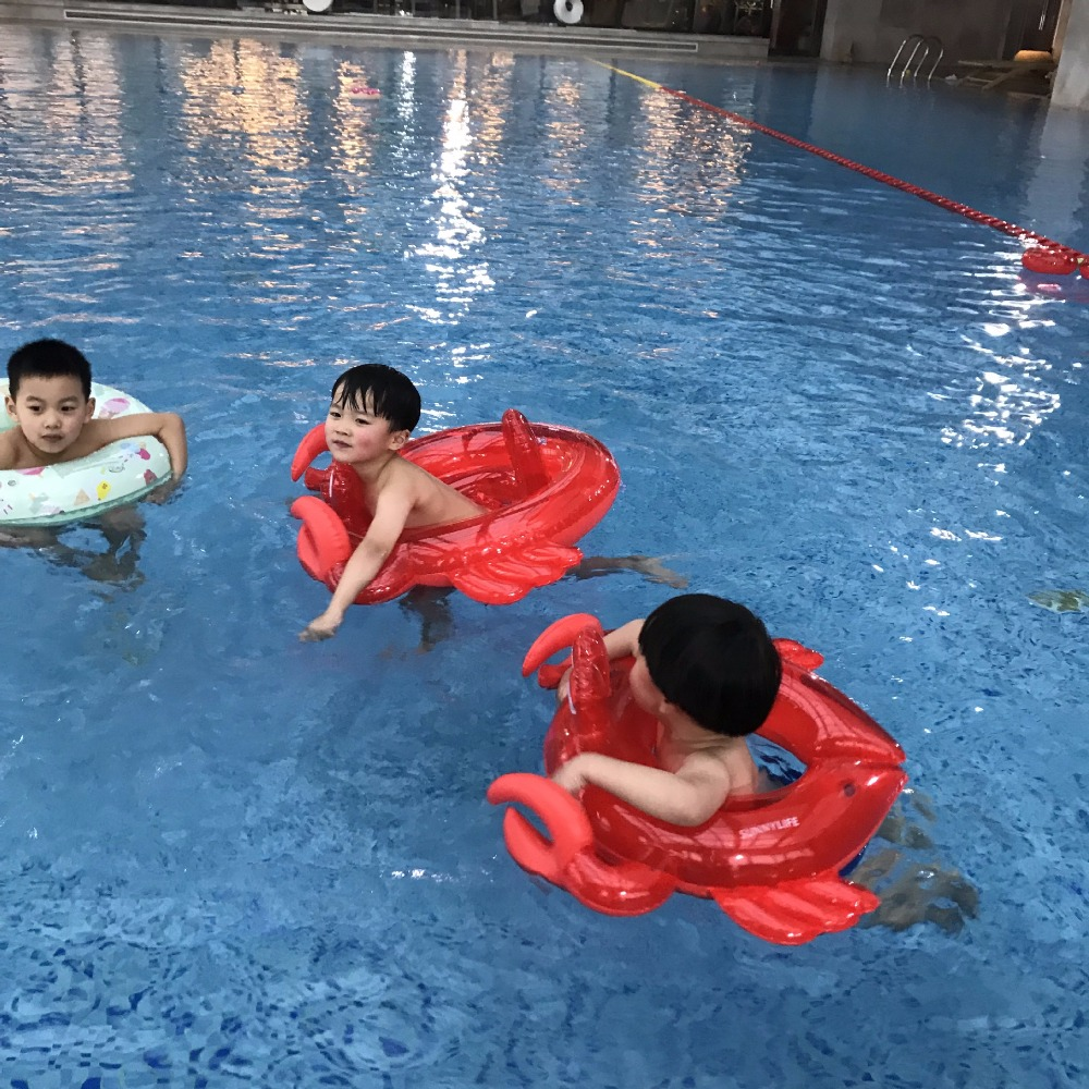 Baby Crab Swimming Float Seat Inflatable Crab Air Mattress Summer Water Fun Pool Toys Underarm Circle Tube for Children Kid Gift