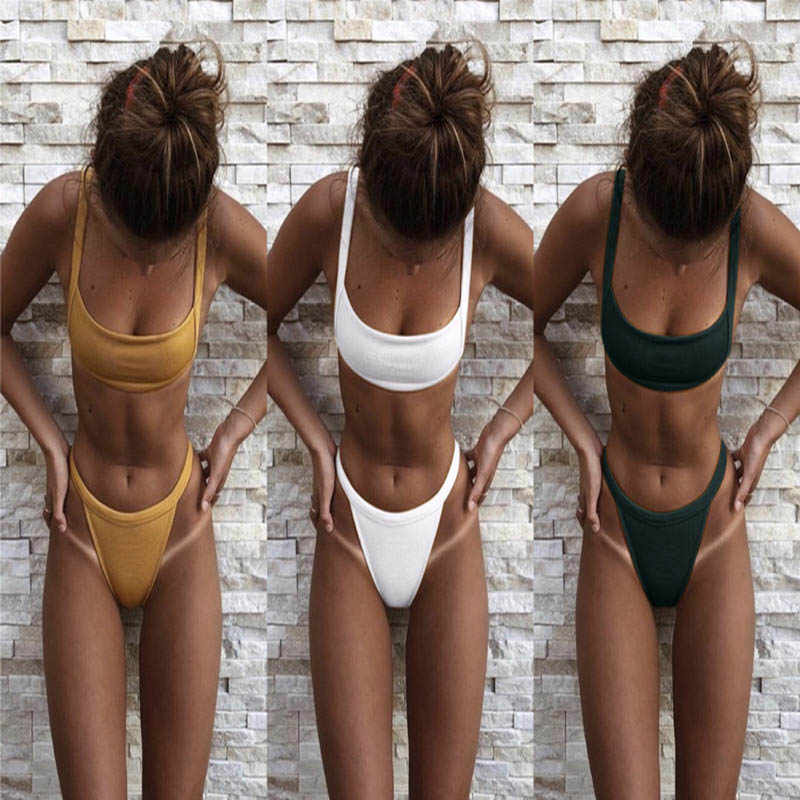 95f69b0b17 Bikinis 2018 Swimwear Women Solid Swimsuit Sexy Push up Thong Bikini Set  Maillot de bain feme