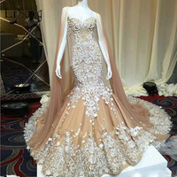 Dubai Champagne Lace Mermaid Wedding Dresses With Cloak Luxury Illusion Back Beaded Bridal Gowns Abiye Vestido De Noiva