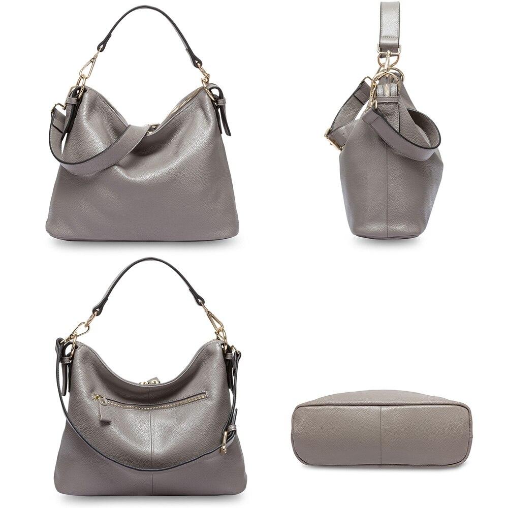 Zency Fashion gris femmes sac à bandoulière 100% en cuir véritable sac à main nouveau Style femme Messenger sac à bandoulière cabas décontracté pour femme-in Sacs à poignées supérieures from Baggages et sacs    3