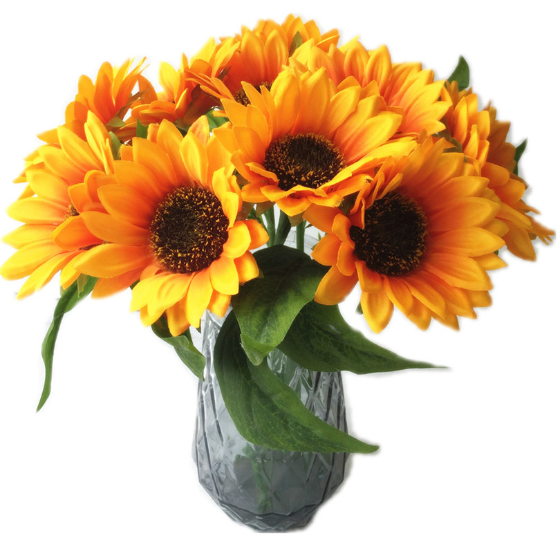 18Pcs Artificial Sunflower Simulation Yellow Single Stem 30cm Long for Home Party Wall Decorations