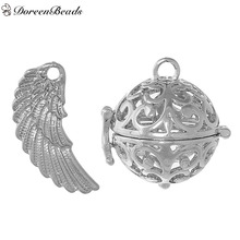 DoreenBeads Copper Wish Box Pendants Round Wing Silver Tone Hollow Can Open (Fit Bead Size: 18mm) 31mm x15mm 26mm x26mm, 1 PC
