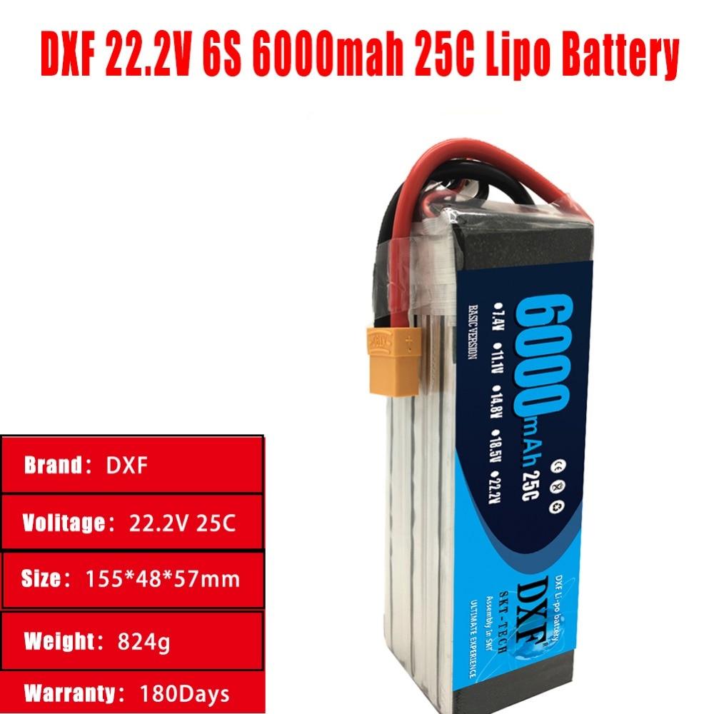 DXF LiPo Batterie 22.2 v 6000 mah 6 s 25C Max 50C RC LiPo Batterie AKKU Pour Avion Hélicoptère Drone voiture Camion Drone Bateau