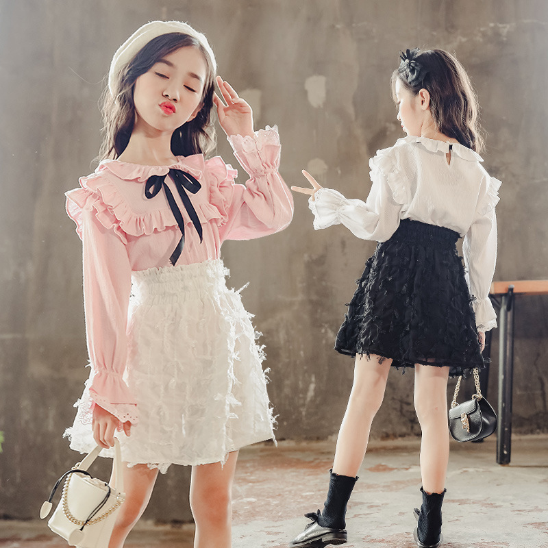 2018 New Fashion Toddler Girl Kids Girls Clothes Set Autumn Long Sleeve 2pcs Tops Blouses Shirts + Skirts Girls Clothing Outfits 2018 girl summer sets new children s skirt 2pcs college chiffon clothing set white half sleeve blouse black long skirts suits