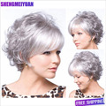 Top Quality Chic womens Cut Hairstyles Synthetic Short Wavy White Wigs for African American Women Hair Wigs +Free Wig Cap