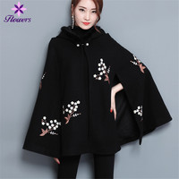 New High Quality Autumn Hooded Winter poncho Women Plus Size Sleeveless Poncho Loose Embroidery Elegant Womens cape poncho Coat