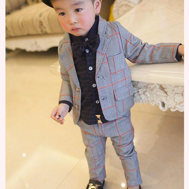 2017  New Children Clothing Set England Kid Clothes Gentleman Boy Party/Wedding Suits Baby Boy Formal Plaid Long-sleeved Sets