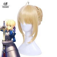 ROLECOS J Fate Stay Night Altria Pendragon Cosplay Chapeaux 30 cm/11.8 pouces Saber Arturia Pendragon Cosplay Synthétique Cheveux