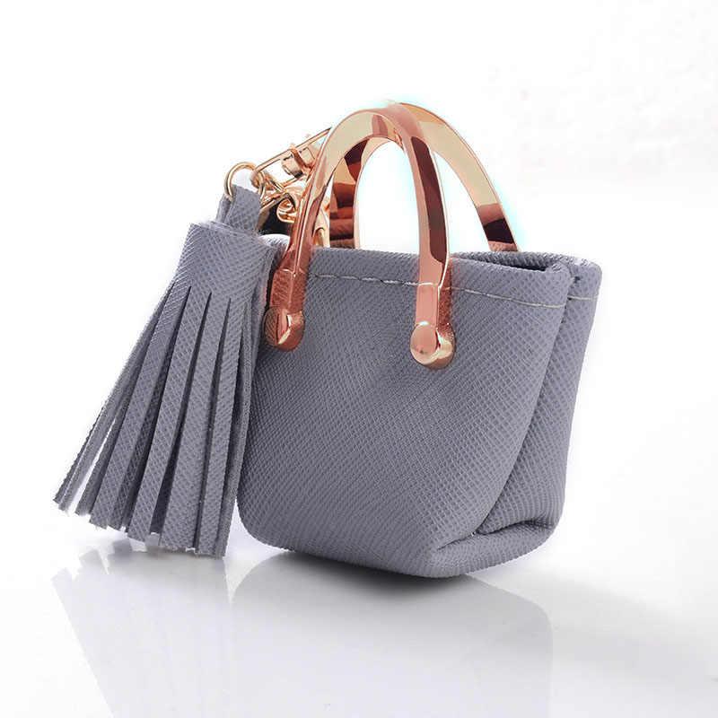 Llavero Mini monedero cremallera pequeño bolso decoración llavero PU bolso de cuero colgante joyería de moda