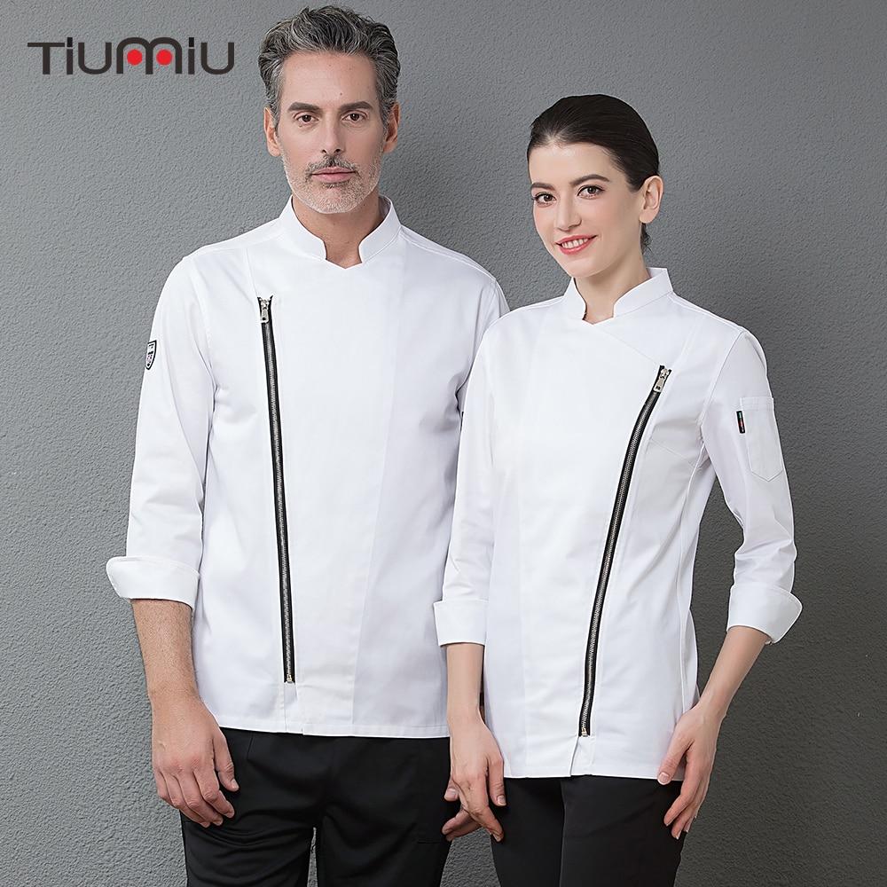 Chef Long Sleeve Zipper Jackets Professional Restaurant Hotel Waiter Work Uniforms Cozinha Cocina Catering Clothing High Quality