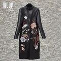 Bordado Floral design preto couro genuíno casacos de Pele De Cordeiro longo casaco feminino blusão trench coat abrigos mujer LT1188