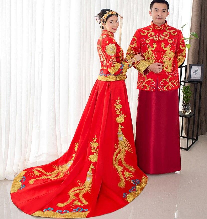 Style chinois spectacle Costume dragon robe de soirée robe mariée mariée cheongsam robe train Su broderie chine Couple tenues de mariage