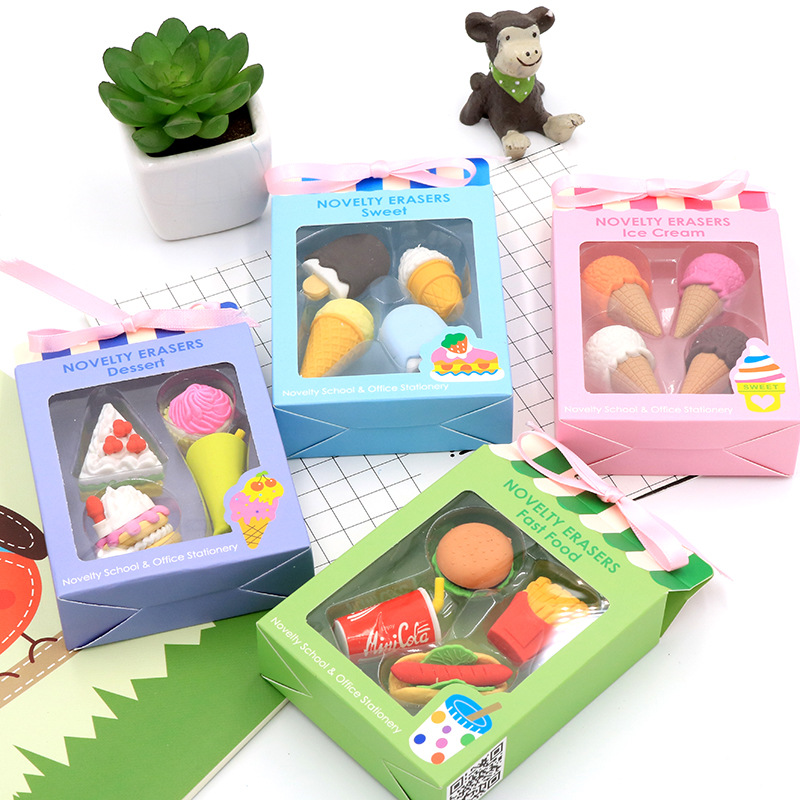 4 Pcs/pack Creative Ice Cream Erasers Cute Food Writing Drawing Rubber Pencil Eraser Stationery For Kids Gifts School Supplies