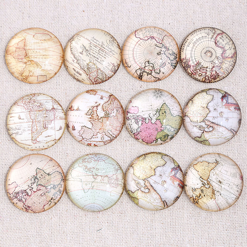 Reidgaller Mix World Map Photo Round Dome Glass Cabochon 20mm 25mm 30mm Diy Flat Back Handmade Jewelry Findings