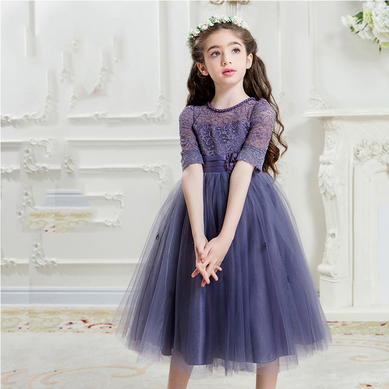 3 Colors Hot Selling Long Sleeve Girls Weddings Dresses+Free Crown Summer 2017 Cute Lace Girls Dress for Party Kids Clothes P48 kids dresses for girls 2017 cute toddler kids baby girls lace party dresses children clothes one pieces 3 15y summer dress hs127