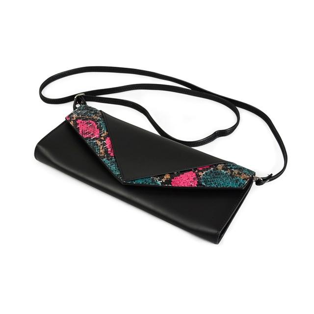 New Women's handbag Snake Skin Genuine Leather Rhinestones Envelope CHIC Serpentine Crossbody Bag Clutches Purse Evening Bags