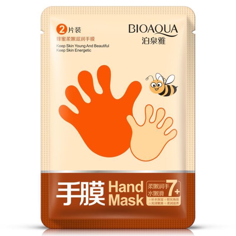 2pcs-bioaoua-honey-hand-mask-whitening-moisturizing-anti-wrinkle-smoothing-remove-hard-dead-skin-hand-spa-skin-care