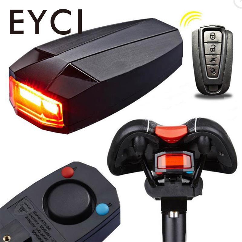 EYCI Fahrrad Drahtlose LED Hinten Licht Fernbedienung Anti-diebstahl Alarm Lock Smart Glocke USB Lade Bike Finder Horn sirene Warnen