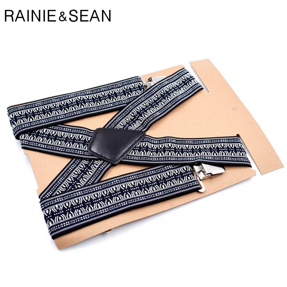 RAINIE SEAN Suspenders Men Wide 5cm Mens Braces For Trousers Male Vintage 120cm Shirt 4clips
