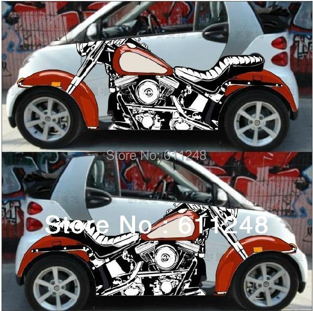 Autocollants de moto de simulation 3d de voiture, emblèmes de porte de jet d'encre, accessoires extérieurs remis en place, matériaux Crowne KK, 2 pièces