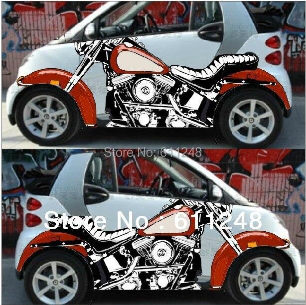 Motorcycle 3d simulation car stickers, door inkjet shocker emblems,exterior accessories refit,Crowne KK Materials,2 pieces