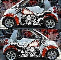 Smart Motorcycle 3d Simulation Car Stickers Door Inkjet Shocker Emblems Exterior Accessories Refit Crowne KK Materials