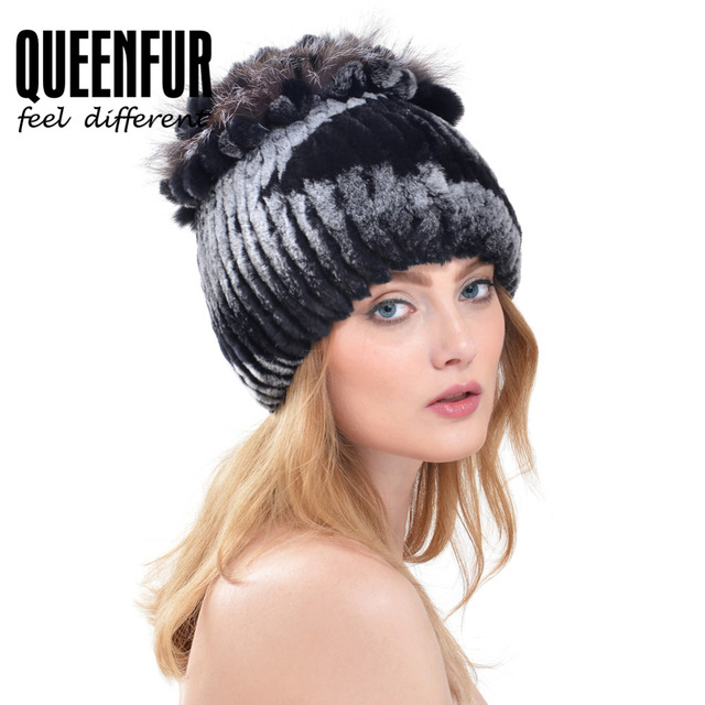 18f8dcb2945 QUEENFUR Genuine Imported Rex Rabbit Fur Hat With Fox Fur Flower Top  Beanies Good Quality Fashion