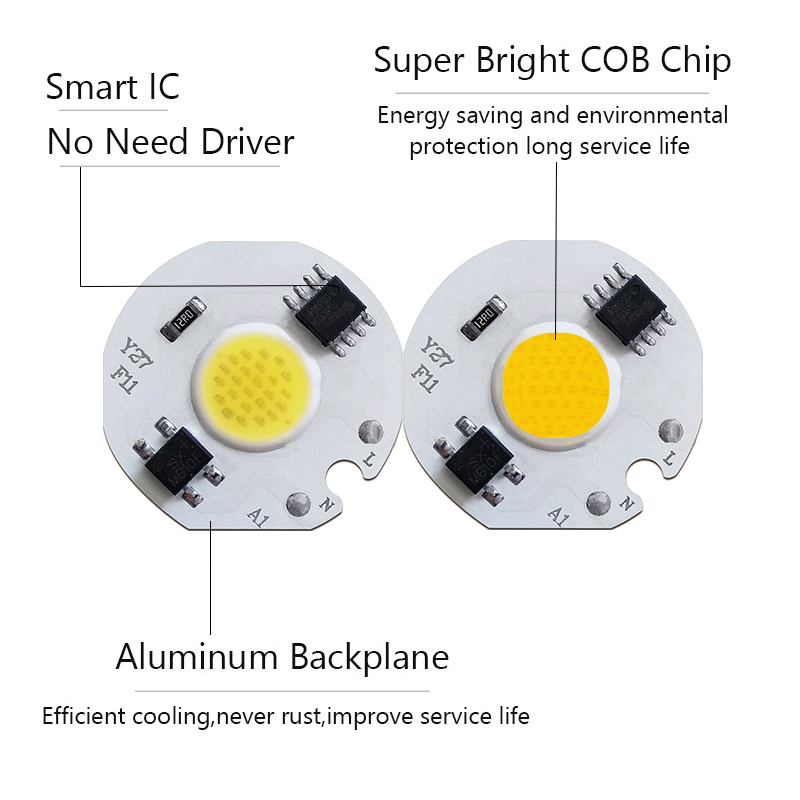 COB LED Lamp Chip AC 110V 220V LEDs Bulb Light Smart IC No Need Driver 3W 5W 7W 10W 12W Warm White Lamps Flood Spotlight LED DIY in LED Bulbs Tubes from Lights Lighting