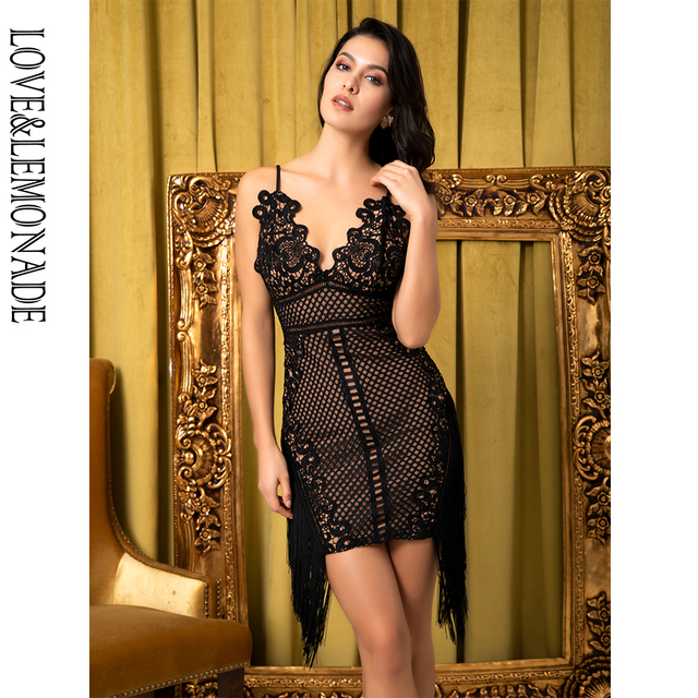 317597edec Love Lemonade Sexy Black V-Neck Sling Lace Stitching Tassel Bodycon Party  Dress LM80513