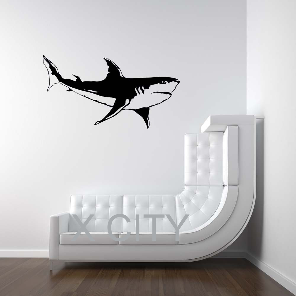 Aliexpress buy white shark sea ocean animal wall art sticker aliexpress buy white shark sea ocean animal wall art sticker vinyl decal die cut kids room nursery stencil mural home decor from reliable home decor amipublicfo Images