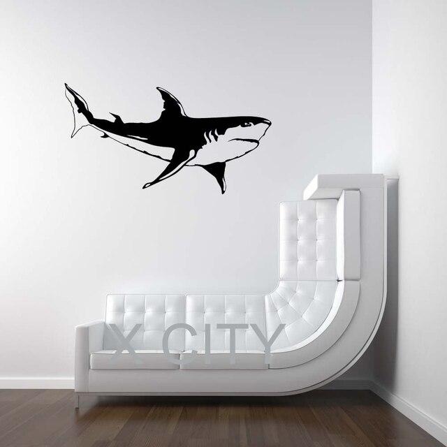 Buy white shark sea ocean animal wall art - Pochoir mural fee ...