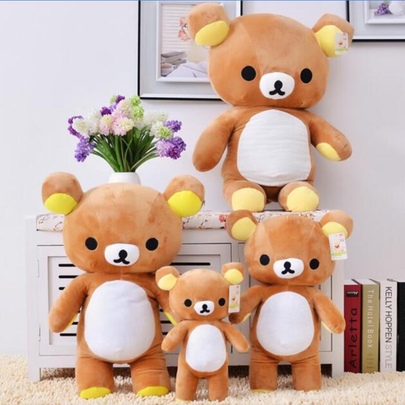 35/60cm Kawaii big brown japanese style rilakkuma plush toy teddy bear stuffed animal doll birthday gift free shipping stuffed animal 90 cm plush dolphin toy doll pink or blue colour great gift free shipping w166