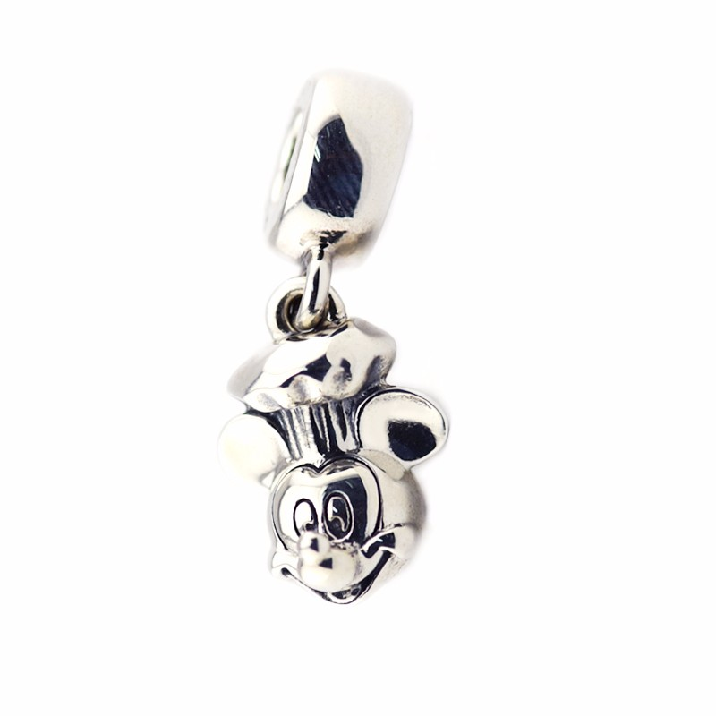 Hot Sale New 925 Sterling-Silver-Jewelry Cute Mouse Chef Pattern Dangle Charm DIY Beads for Jewelry Making with Logo FL458