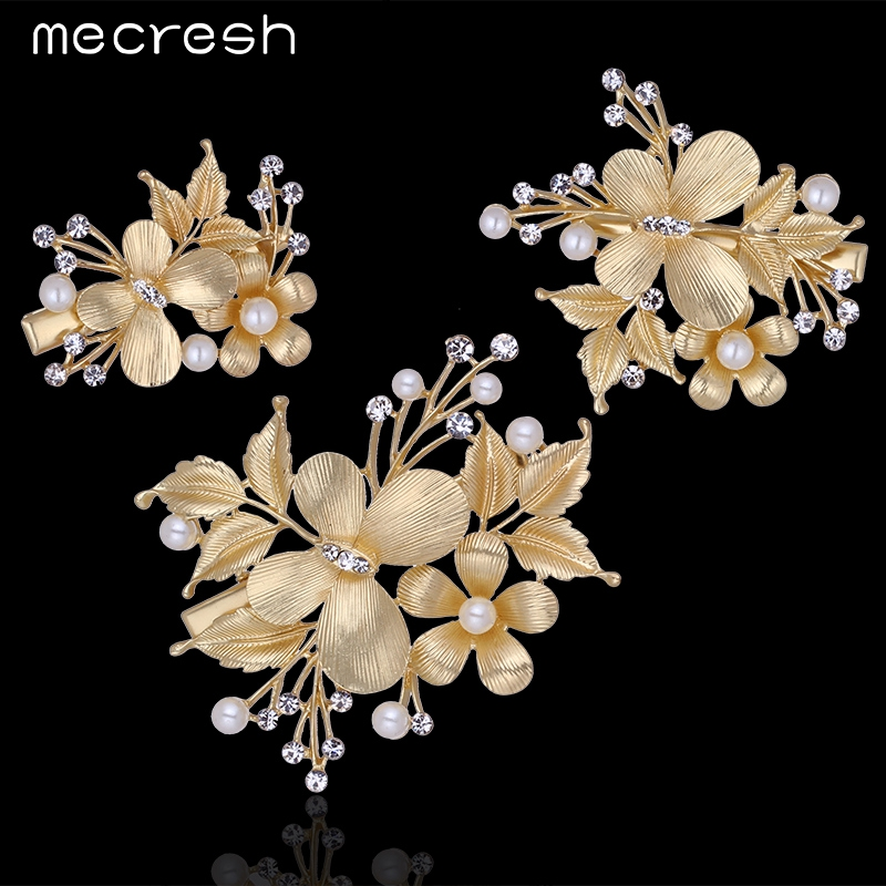 mecresh 3pcsset flower simulated pearl wedding hair accessories gold color crystal butterfly hairpins